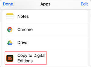 Copy to Digital Editions on Apple device